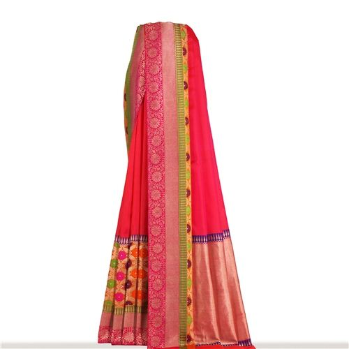 Rangkat Minakari Fuchsia Pink Silk Saree