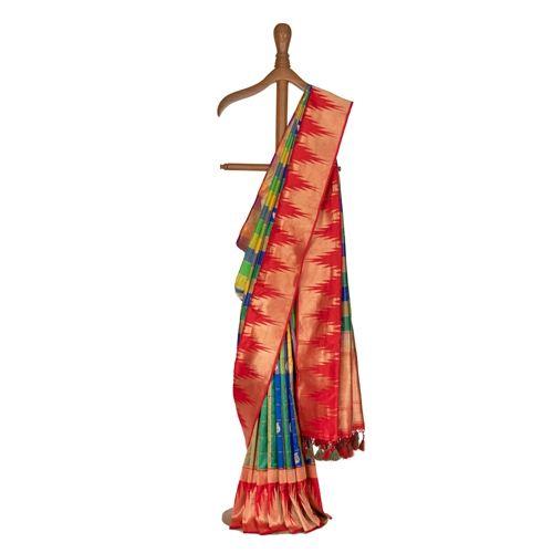 Chouka Temple Blue Silk Saree