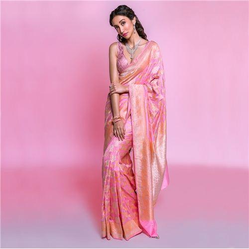 Peepal Jungla Pink Silk Saree