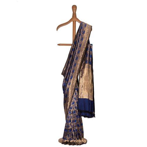 Gilheri Blue Black Brocade Silk Saree