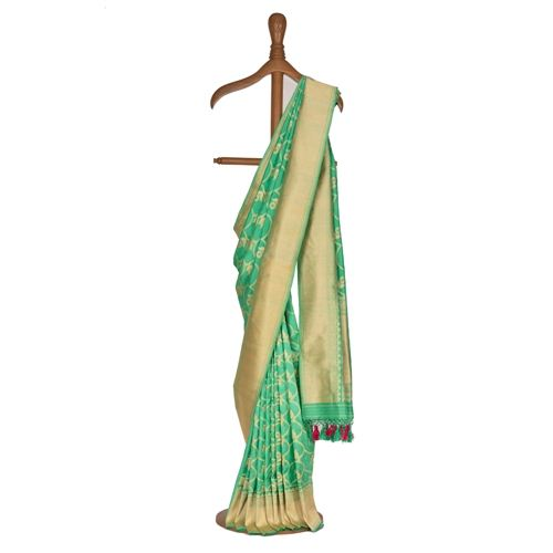 Minakari Phool Jaal Spring Green Silk Saree