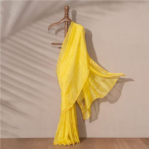 Mandala Banarasi Handwoven Linen Chiffon Saree