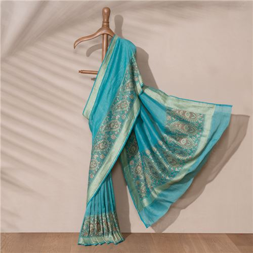 Kani Banarasi Handwoven Linen Chiffon Saree