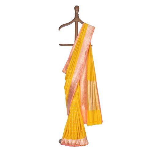 Clover Chouka Yellow Silk Saree