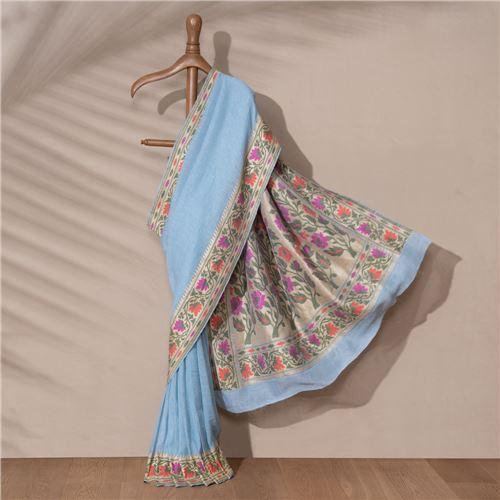 Bela Banarasi Handwoven Linen Chiffon Saree