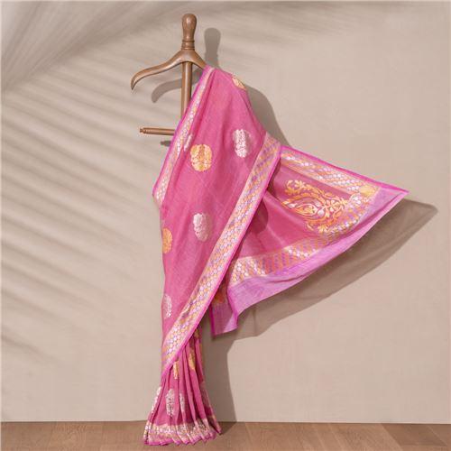 Roz Banarasi Handwoven Linen Chiffon Saree