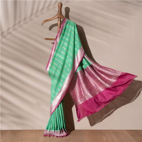 Lila Ektara Banarasi Handwoven Linen Chiffon Saree