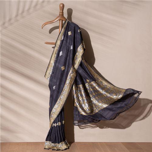 Nico Banarasi Handwoven Chiffon Tussar Saree