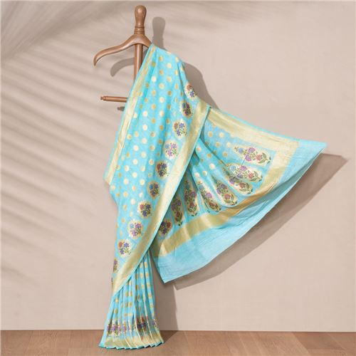 Mazarmond Banarasi Handwoven Linen Chiffon Saree