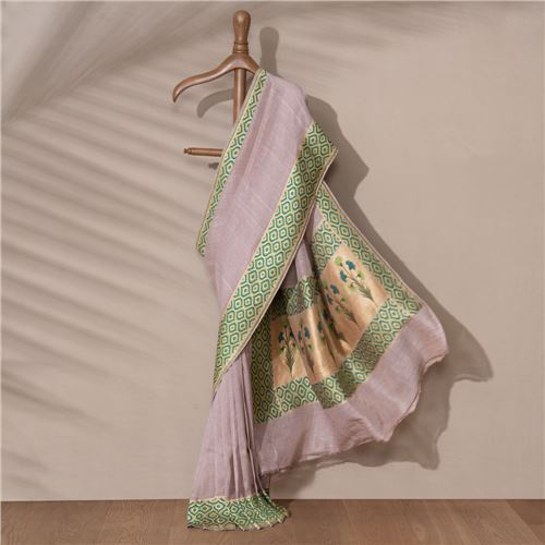 Charudhara Banarasi Handwoven Linen Chiffon Saree