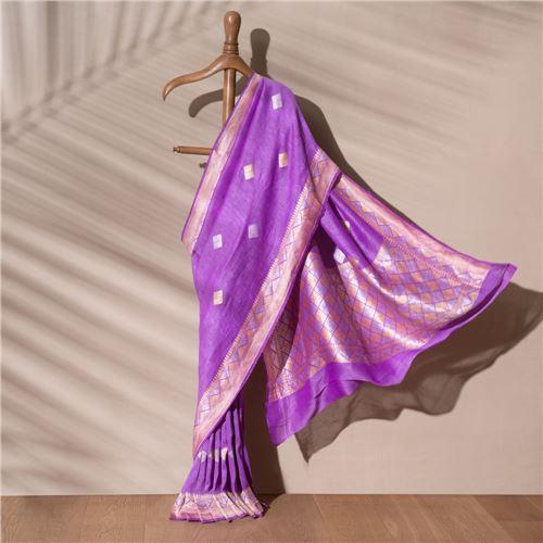 Nico Banarasi Handwoven Linen Chiffon Saree