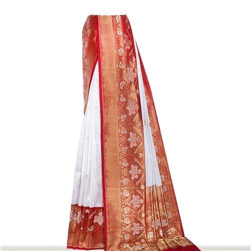 Khinkhwab Panetar Shwet Red Silk Saree