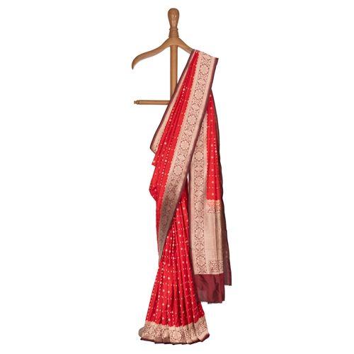Chouka Zari Classic Red Silk Saree