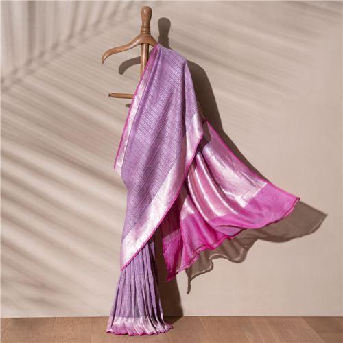 Lila Charkhi Banarasi Handwoven Linen Chiffon Saree