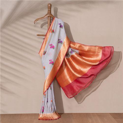 Gul e Shama Banarasi Handwoven Linen Chiffon Saree