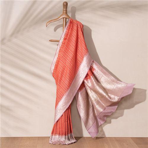 Lila Bel Banarasi Handwoven Linen Chiffon Saree