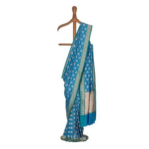 Saawan Zari Buti Teal Blue Silk Saree