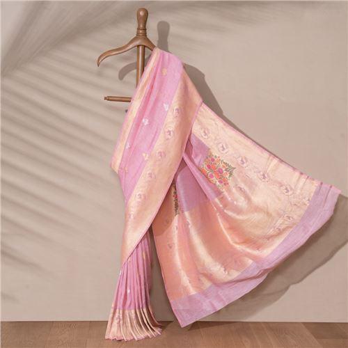 Charu Banarasi Handwoven Linen Chiffon Saree