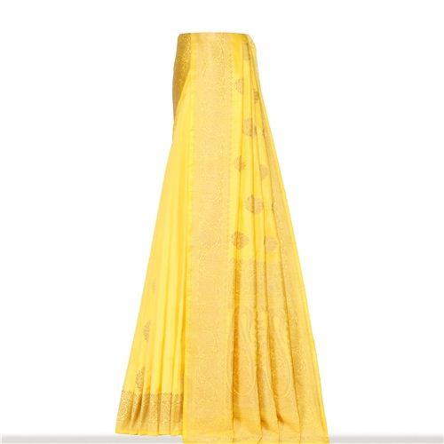 Guldavari Buti Ektara Gethua Mellow Yellow Silk Saree