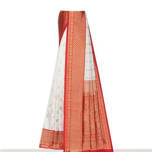 Sona Rupa Panetar Shwet Red Silk Saree