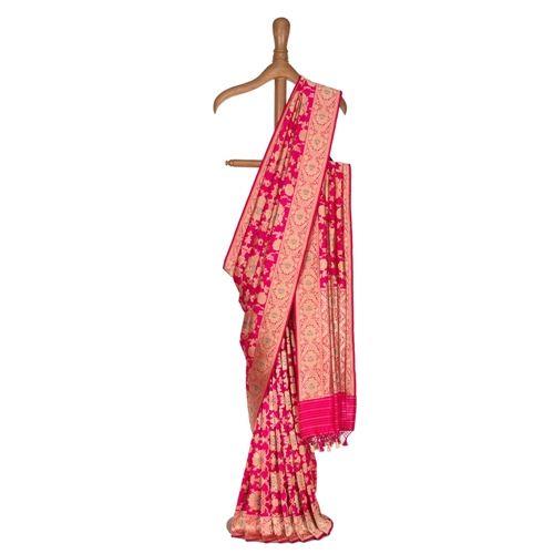 Pushpanjali Hot Pink Silk Saree