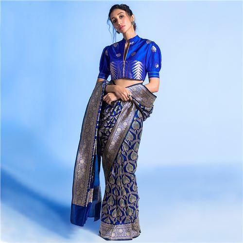 Paan Jaal Ink Blue Silk Saree