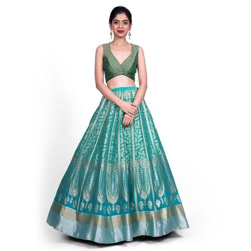 Chana Patti Lehenga Shaded Turquoise Blue