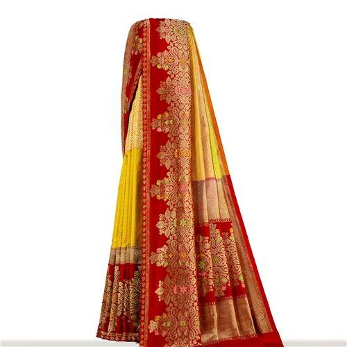 Rangkat Minakari Mellow Yellow Silk Saree