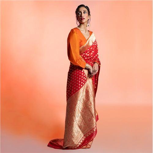 Jhumki Zari Pallu Red Silk Saree
