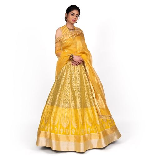 Chana Patti Lehenga Shaded Lime
