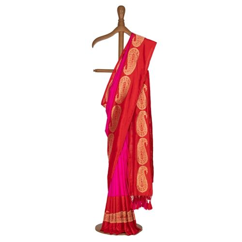 Paisely Red Border Pink Silk Saree