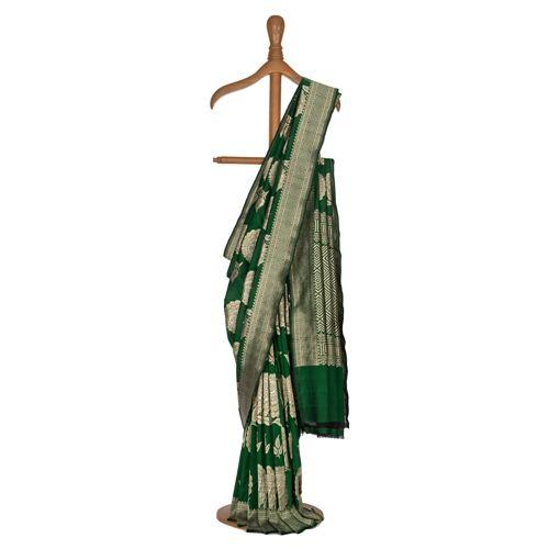 Gulaab Buta Dark Green Silk Saree