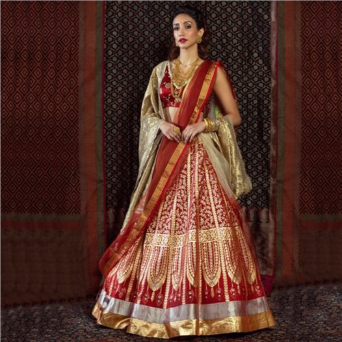 Mehr Chana Patti Lehenga Maroon Red