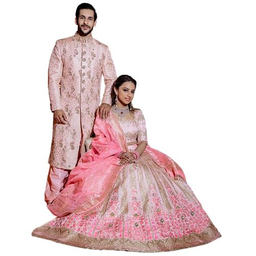 Madhosh Poppy Shahteer Powder Pink Lehenga