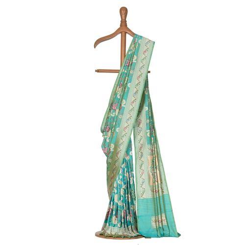 Gyasar Dohra Silk Aqua Blue Saree