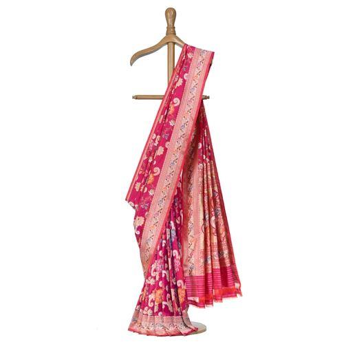 Gyasar Dohra Silk Berry Pink Saree