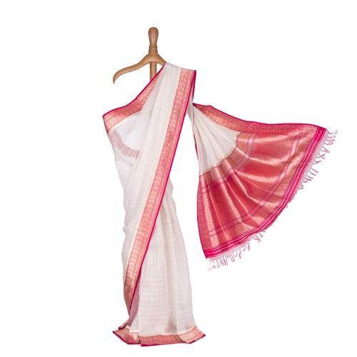 Damsa Ektara Kora Silk Saree