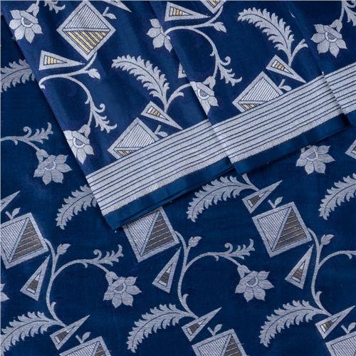Alfi Jungla Silver Ink Blue Silk Fabric