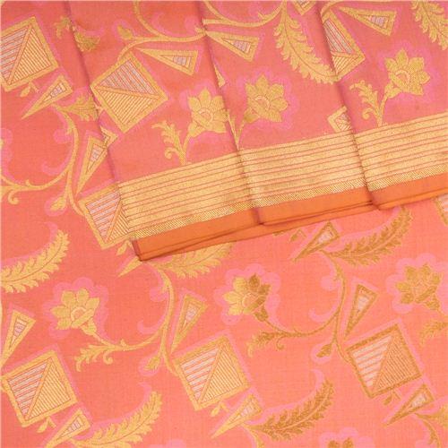 Alfi Jungla Gold Peach Silk Fabric