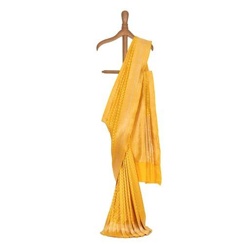 Chana Patti Turmeric Yellow Silk Saree