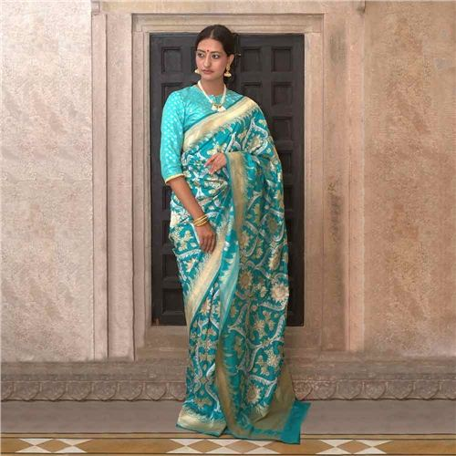 Surya Buta Khinkhwab Turquoise Silk Saree