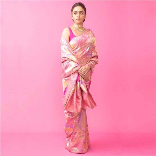 Gyasar Khinkhwab Pink Rouge Silk Saree