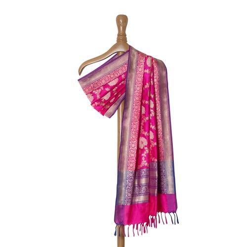 Phool Jaal Pink Silk Dupatta