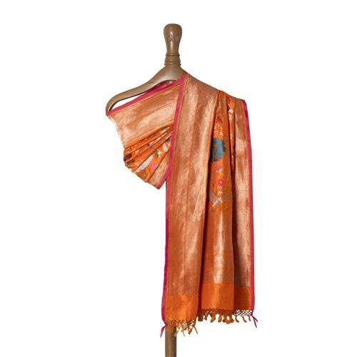 Guldavari Jungla Orange Silk Dupatta