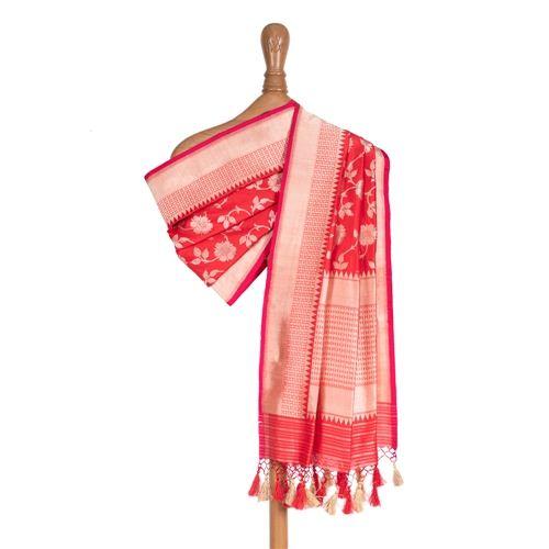 Phool Jaal Red Silk Dupatta
