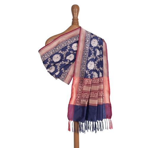 Pushp Sona Rupa Ink Blue Silk Dupatta