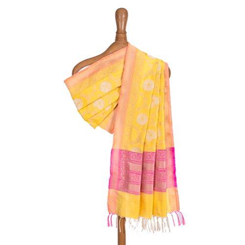 Phool Jaal Yellow Pink Silk Dupatta