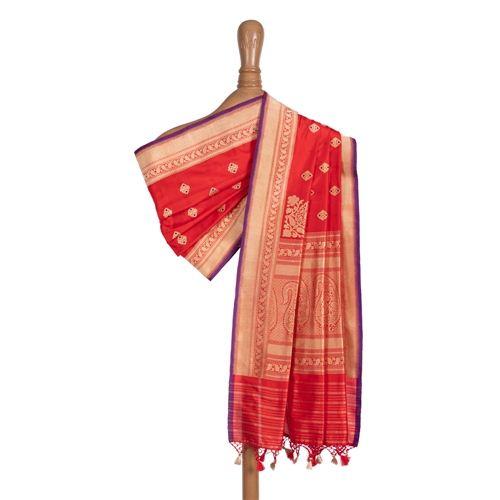 Surkh Chaudhani Red Silk Dupatta