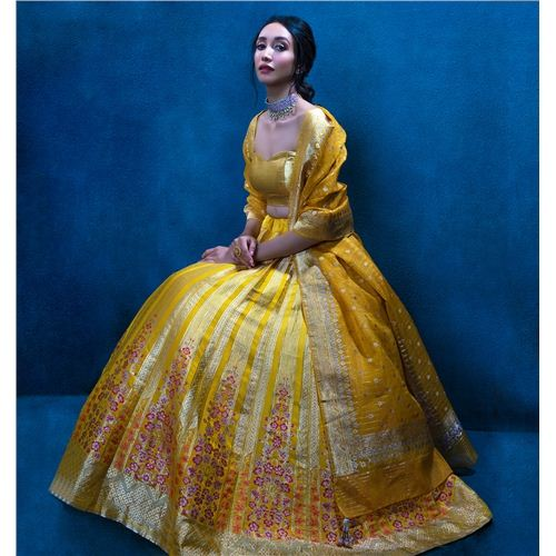 Madhosh Poppy Shahteer Tuscan Yellow Lehenga