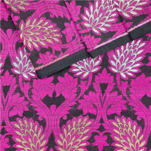 Nishat Jaal Black & Pink Silk Fabric